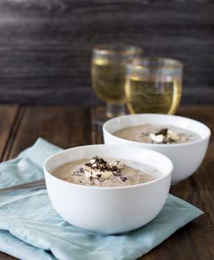 Mushroom Soup with fragrant rosemary and the earthy rich addition of black truffle. This mushroom, rosemary and truffle soup is packed with flavour and ready in under 30 minutes. Perfect for the cold weather