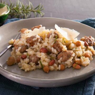 Feature Image. Shows risotto on a rustic table