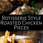 two pictures of roasted chicken pieces with text between them