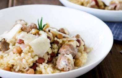 Risotto is one of the most satisfying and warming dishes you can make. Creamy, buttery with rich herby Italian sausage and fragrant rosemary. This risotto a sure winner for winter.