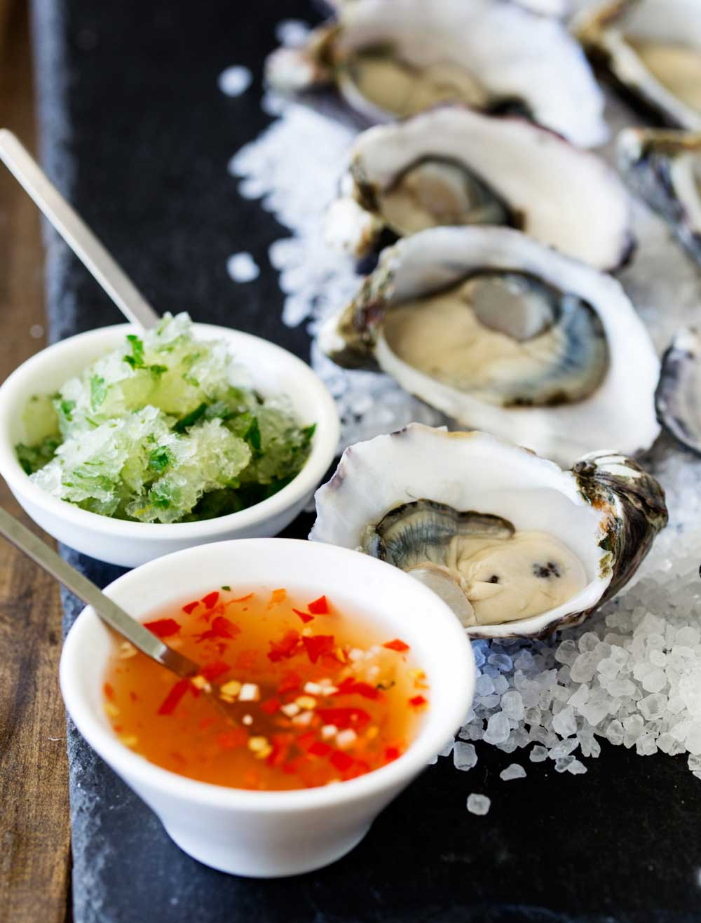 These Thai oysters are dressed with a sweet and spicy dressing and then topped with a cooling salty sour granita. The perfect balance of flavours. If you love oysters then I know you will love these babies!