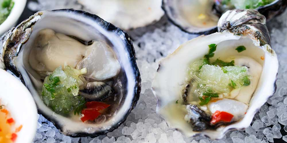Thai Oysters with a Lime and Cucumber Granita