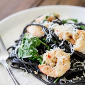 This Spaghetti Nero with Garlic prawns is a winner of a dish, simple to prepare but posh enough for company. Words cannot describe how good this is!