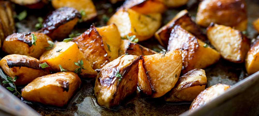 Roasted Rutabaga with Maple Syrup and Thyme