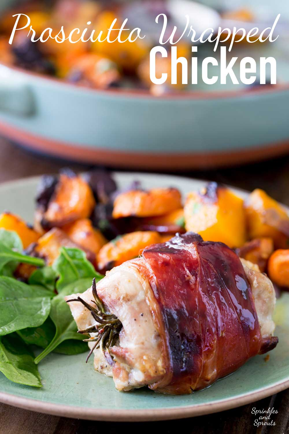 Juicy chicken infused with pepper and rosemary, wrapped in salty prosciutto and glazed with maple syrup. This is packed with flavour and so simple to make. Serve it with my roasted root veg and you have a healthy and achievable mid-week roast.