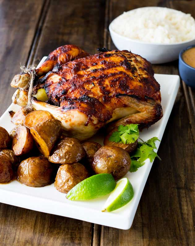 Sweet, juicy chicken with the wonderful flavour of Thai massaman curry, served with some delicious roasted potatoes, plain rice and a rich Thai gravy. This is roast dinner with a booster pack on!
