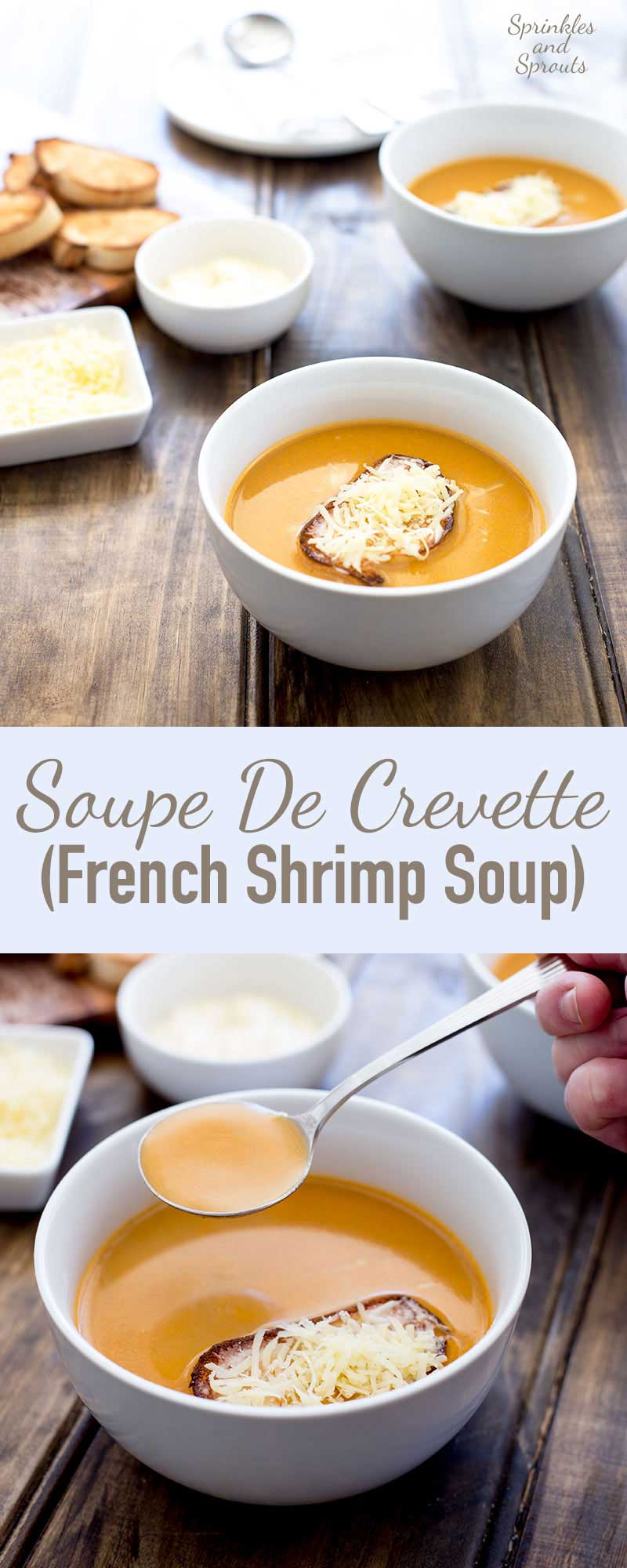 This Soupe De Crevette (French Shrimp Soup) is a rich and creamy soup that is perfect for entertaining. It is simple to make and tastes like it is packed full of cream and butter, but it is actually remarkably low is calories!