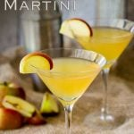 pin image showing a slightly elevated look at the apple martini with text in the top left corner