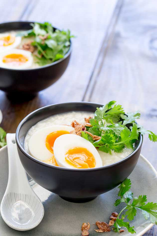 This comforting savoury ginger congee is is a staple rice dish across many Asian countries. It is traditionally eaten as a breakfast in China, but it is so good that I love it curled up on the sofa late at night. This is food that feeds your soul as well as your belly. Honestly this just make you feel good!