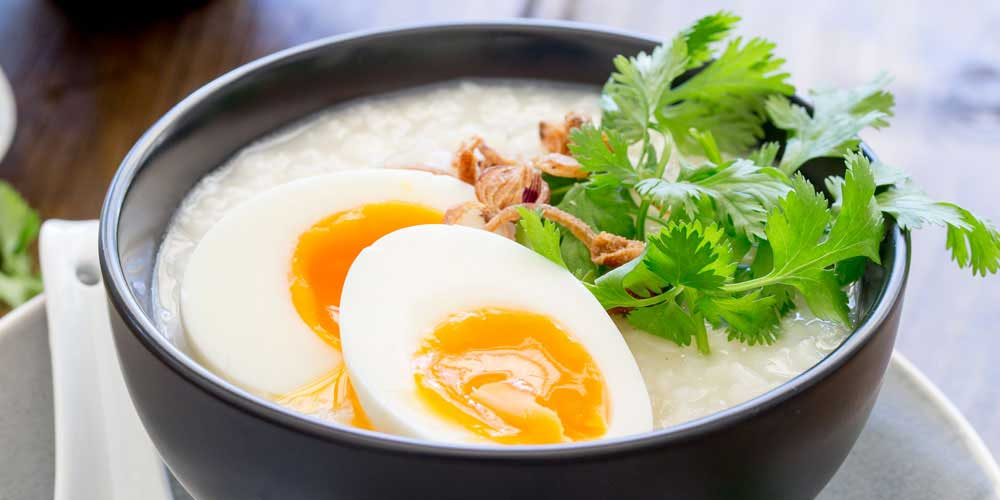Ginger Congee with Egg and Crispy Shallots