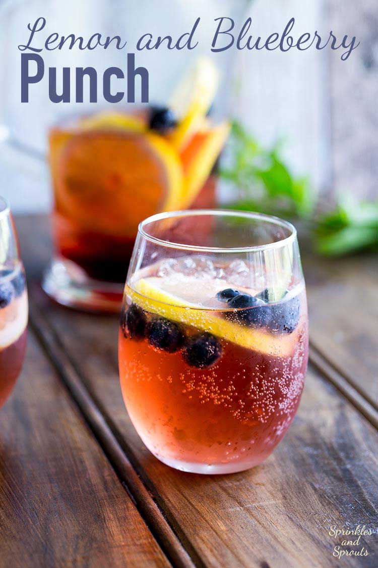 This Lemon and Blueberry Punch, is fruity and refreshing, but it delivers a great kick. Perfect for relaxing with friends, or for serving at a larger party! https://www.sprinklesandsprouts.com.au/lemon-and-blueberry-punch/