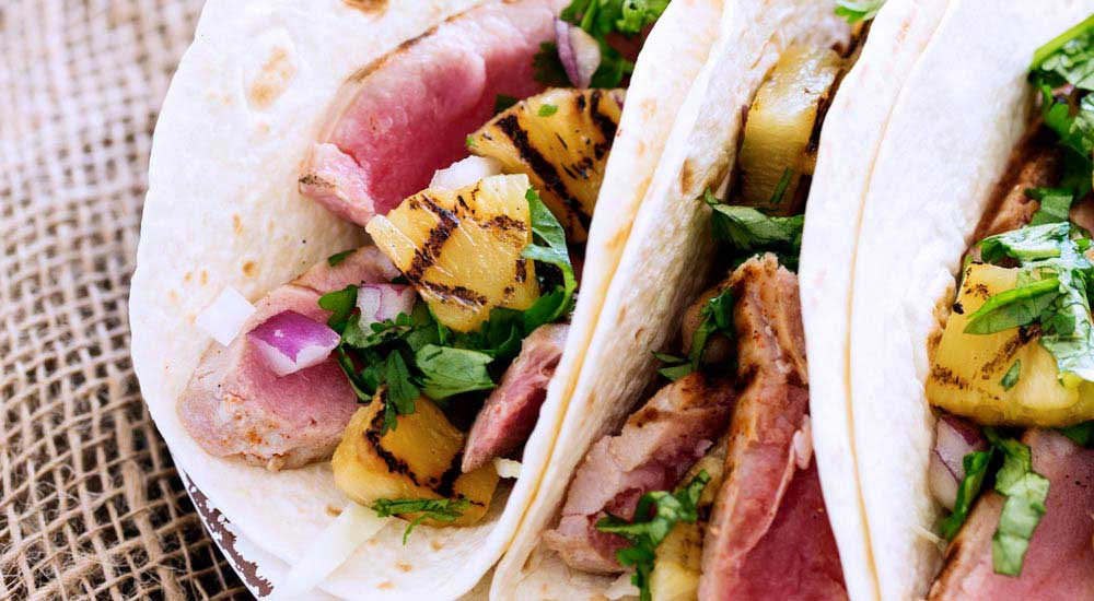 Tuna and Chargrilled Pineapple Tacos