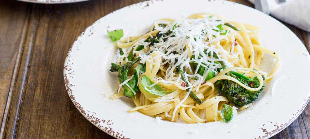 Charred Broccoli Pasta with Chilli and Goats Cheese