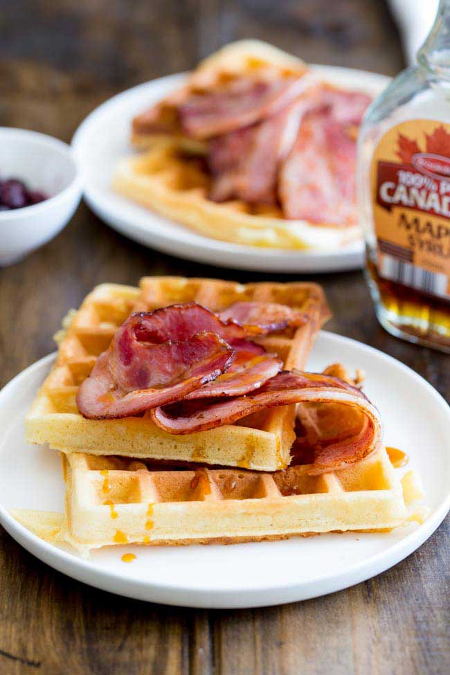 Maple Syrup Waffles with Glazed Bacon | Sprinkles and Sprouts