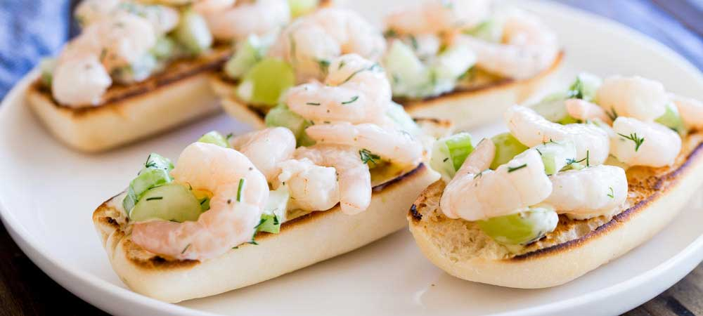 Open Shrimp Sandwich with Grape and Celery