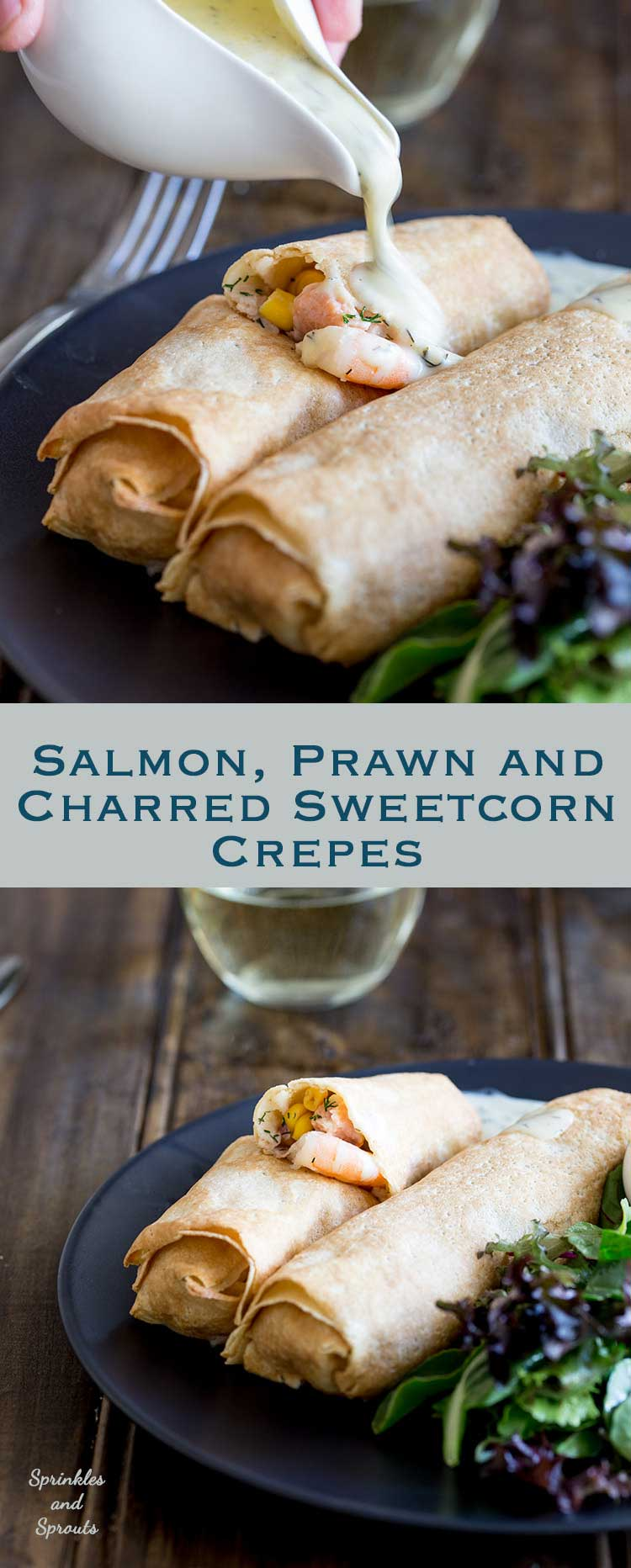 These delicate, thin crepes are filled with creamy delicious salmon and king prawns, some sweet charred corn and then baked to a crisp delicious perfection. All served with a creamy dill sauce. Delicious and elegant. Perfect for entertaining, these are sure to be a hit!