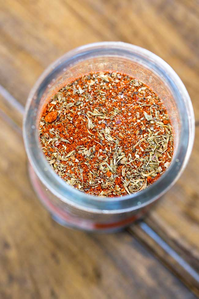 Overhead view into a jar of Creole seasoning