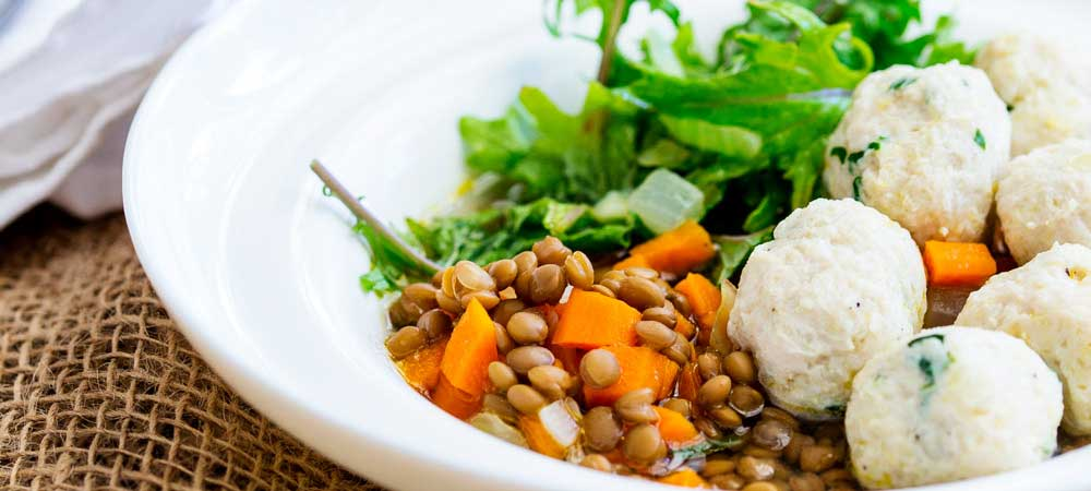 Nourishing Lentil Bowl with Kale and Chicken Meatballs