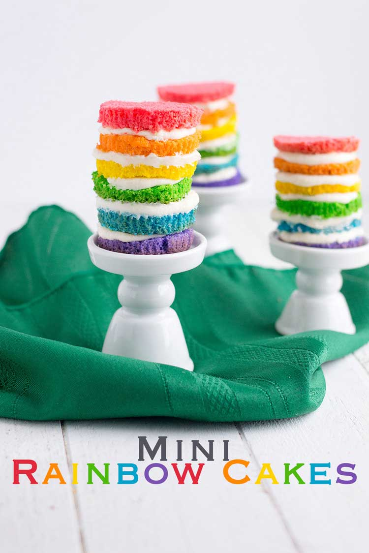 Aren't these Mini Rainbow Cakes so cute!!!! Brightly coloured mini cakes that are perfect for the kids to make.