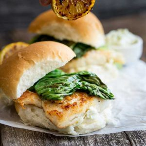 Crispy fish with a delicious tarragon mayonnaise and sweet charred lettuce, all served in a soft white bread roll. This burger is a flavour explosion and perfect way to enjoy fish.