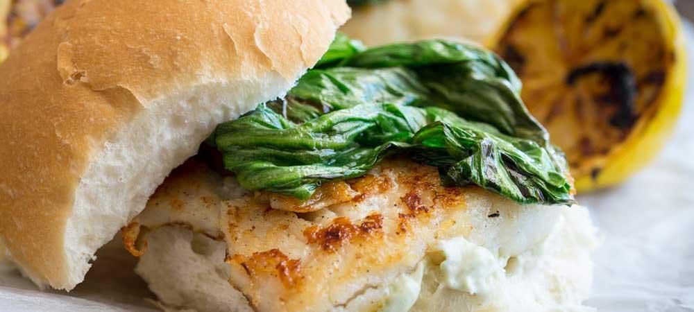 Fish Burger with Charred Lettuce and Tarragon Mayo