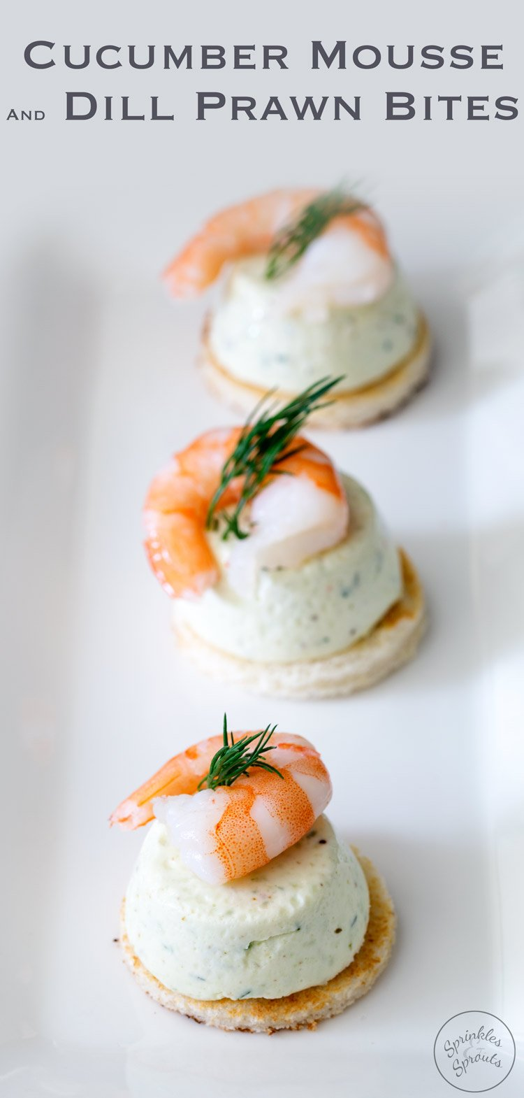 These Cucumber Mousse And Dill Prawn Bites are sublime. The subtle and refreshing taste of cucumber combined in a soft heavenly mousse, sat on top of a crispy toast circle and topped with a succulent prawn and the freshness of dill. From https://www.sprinklesandsprouts.com.au
