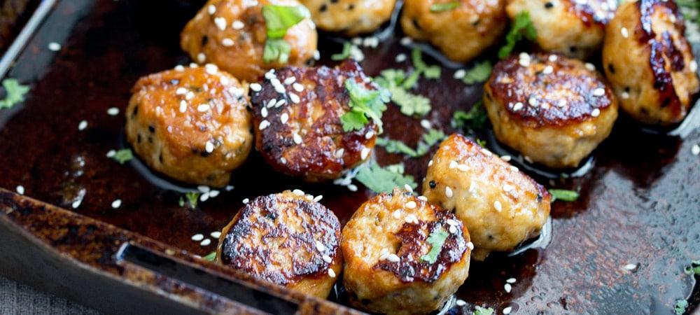 Tray Bake Sticky Sesame Chicken Meatballs