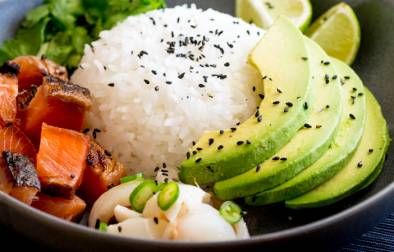 Sweet salty Salmon, Creamy Avocado and a Lychee Salsa that packs a flavour punch! All sitting on top of seasoned sticky rice. Sushi bowls are fun to put together and are a great way to get the flavours of sushi without having to roll or press the rice!