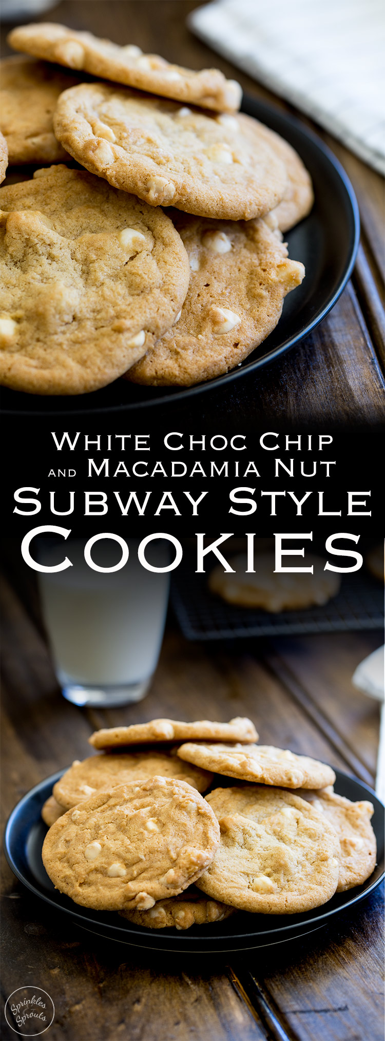 Perfect soft and chewy cookies, packed with white chocolate chips and macadamia nuts, these cookies are just like Subway cookies... but even better as you know exactly what is in them! From https://www.sprinklesandsprouts.com.au