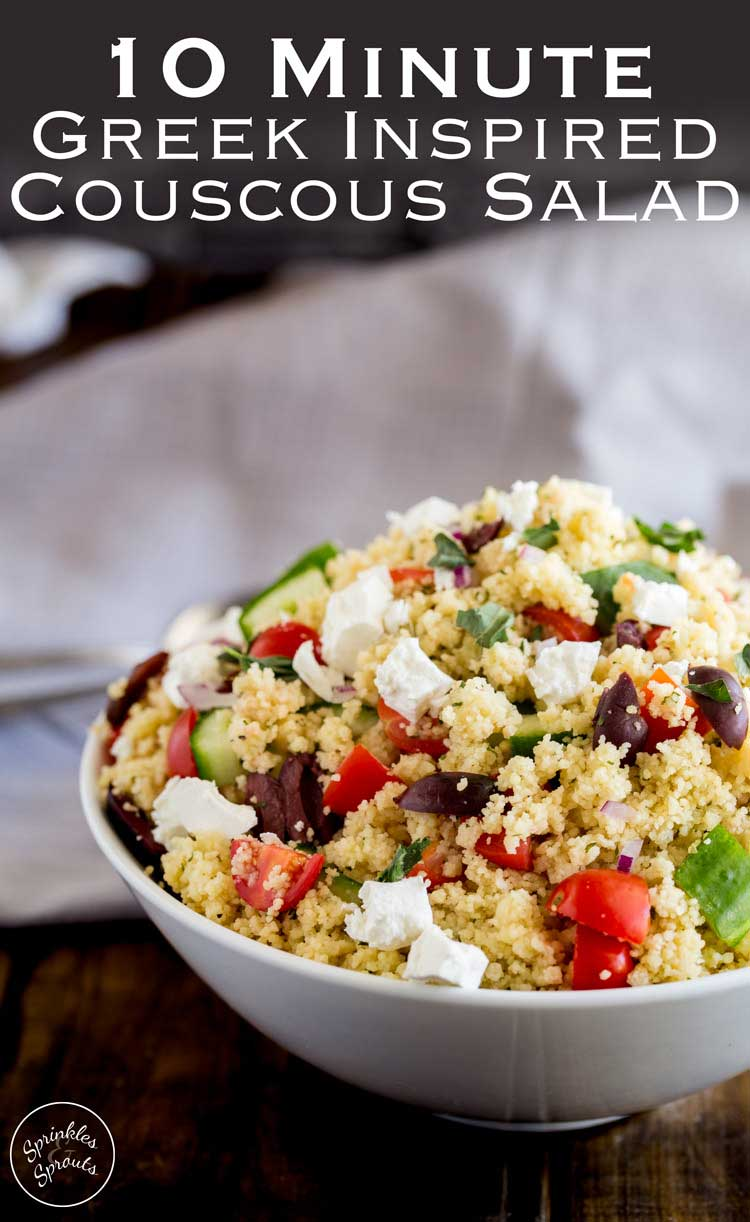 This Greek couscous salad is ready in 10 minutes!!!! And it looks and tastes amazing. Packed with the flavours of a traditional greek salad, this greek couscous could be a side dish or served on it's own for lunch. Better yet make it for dinner and pack up the leftovers in a lunchbox!!!! #SundaySupper #Quickandeasy
