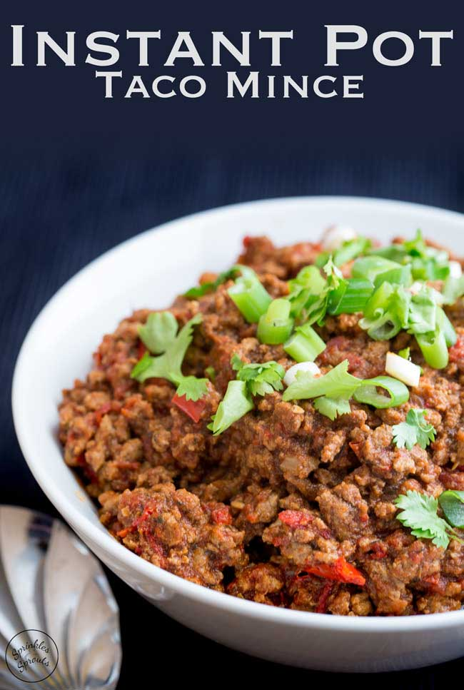 This Instant Pot taco mince is packed with flavour. And it cooks in the Instant pot or pressure cooker in just 15 minutes. Perfect for your tacos, enchiladas or just serving with rice. #Instantpot #Pressurecooker #tacotuesday