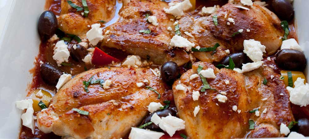 One Pan Greek Chicken with Feta and Olives