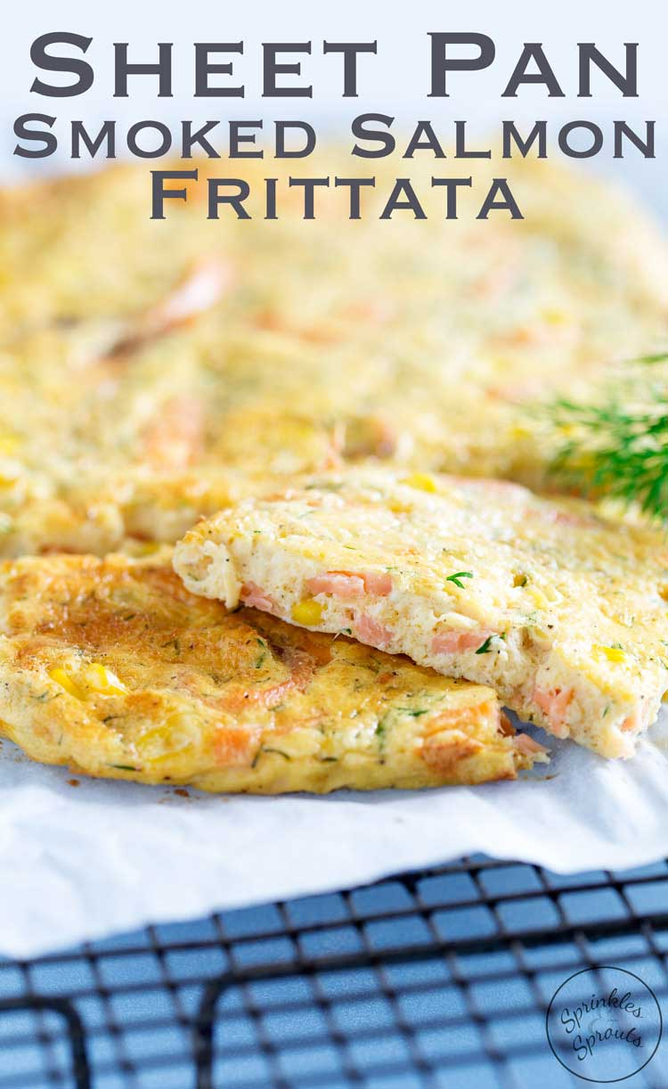 This Smoked Salmon Frittata is oven baked in a sheet pan, making it perfect for feeding a group. Enjoy it at any time of day. Personally I like it for brunch with a glass of bucks fizz. From Sprinkles and Sprouts
