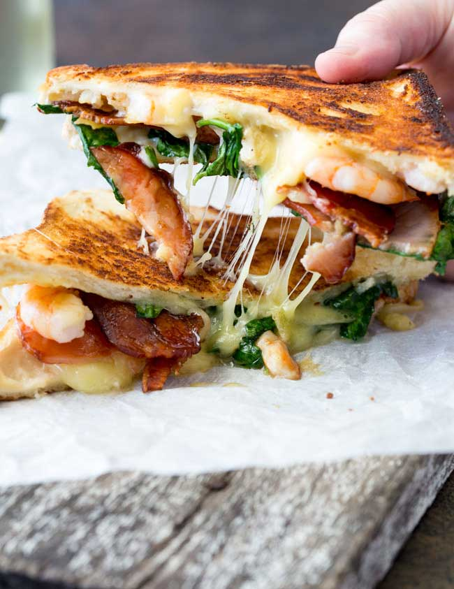 Shrimp and Bacon Grilled Cheese Sandwich