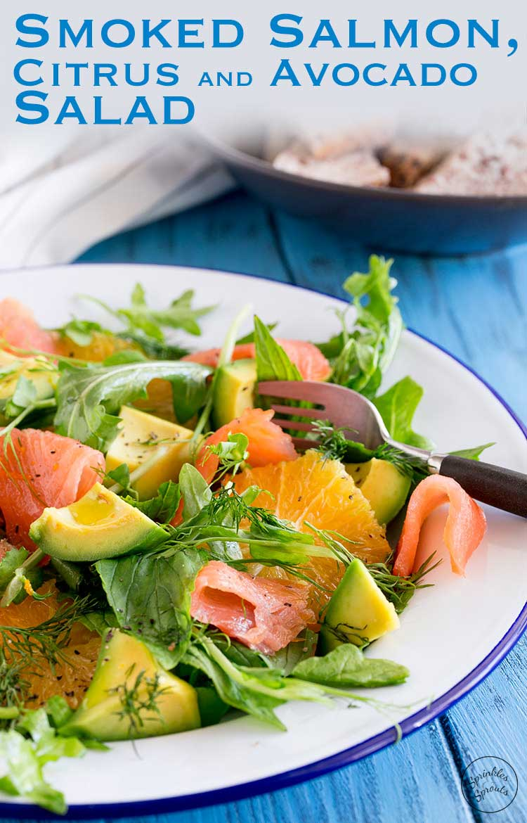 Smoked Salmon, Sweet orange, peppery leaves, fresh herbs and creamy avocado. This smoked salmon, orange and avocado salad is packed with flavours and textures. So delicious and so beautiful it is sure to become a firm favourite. A fresh salad that is perfect for Spring or Summer. Serve it when entertaining or pack it up in your lunchbox. #summersalad #SundaySupper Recipe from Sprinkles and Sprouts | Delicious food for easy entertaining.
