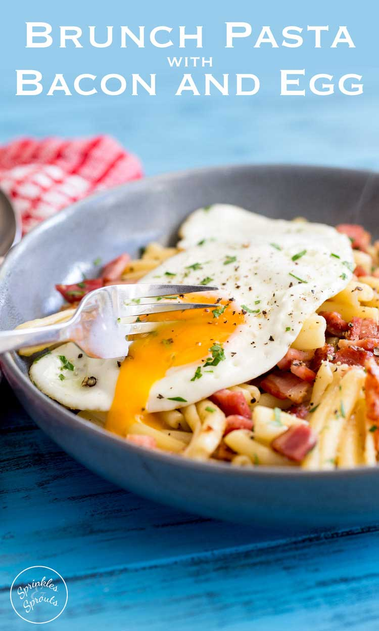 Salty, smokey bacon stirred through buttered pasta and dressed with a soft egg. The yolk oozes over the pasta and creates a fabulous additional sauce. This Brunch pasta dish is simple to make, delicious to eat and costs pennies to make! Winner!!!