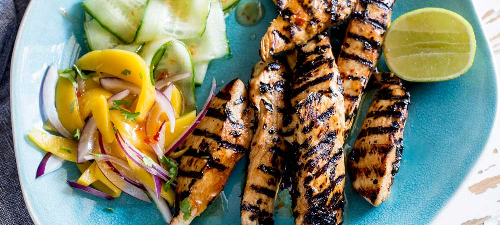 This Sweet Chilli Chicken is sweet, sticky, a little spicy and very very moorish! The sweet chilli glaze helps the chicken caramelise and the mango salad is sweet, refreshing and spicy. From Sprinkles and Sprouts.