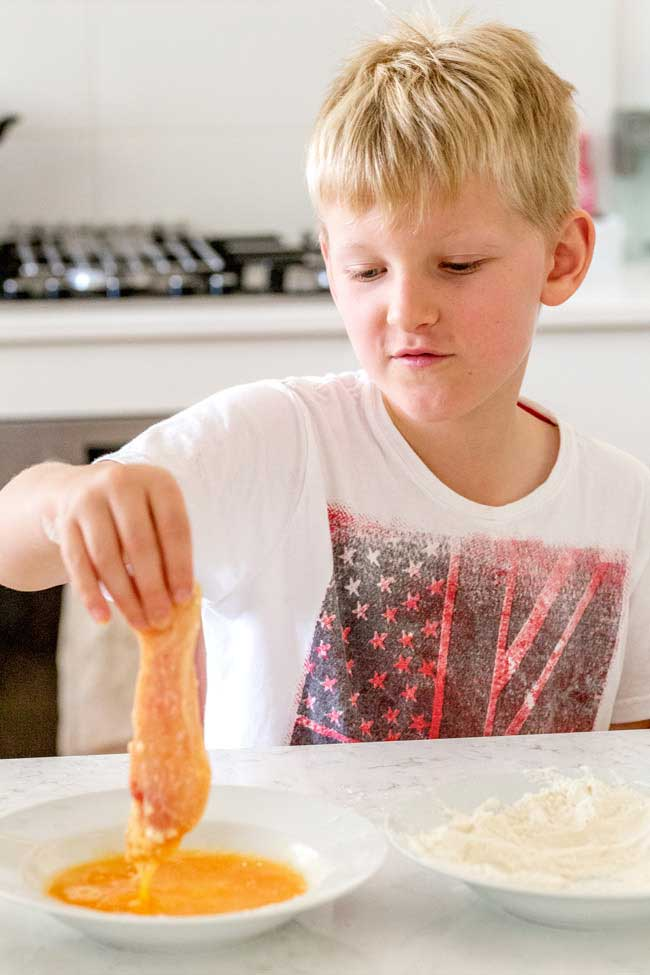 Crispy Pretzel Coated Chicken Fingers Cooking with the kids at Sprinkles and Sprouts.