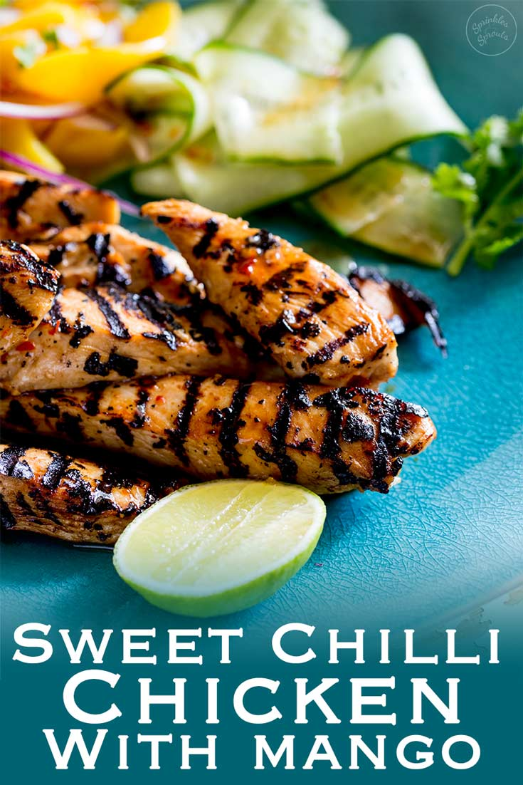 This Sweet Chilli Chicken is sweet, sticky, a little spicy and very very moorish! The sweet chilli glaze helps the chicken caramelise and the mango salad is sweet, refreshing and spicy. Recipe From Sprinkles and Sprouts | Delicious Food for Easy Entertaining #grilling #chickenmarinade #summerfood #BBQchicken #grilledchicken #BBQ