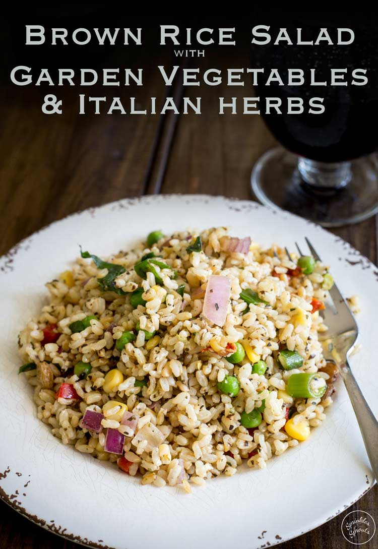 Nutty brown rice, sweet crunch vegetables and flavour packed herbs. This brown rice salad is not your average salad. It is nutritious and delicious.From Sprinkles and Sprouts