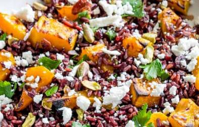 This Black Rice, Goats Cheese and Maple Roasted Pumpkin Fall Saladhas it all!!! Nutty sweet black rice, sweet smoky pumpkin, fresh tangy goats cheese, sweet cranberries and crunchy pistachios. Delicious as a main or a side, this is the perfect dish for fall. From Sprinkles and Sprouts