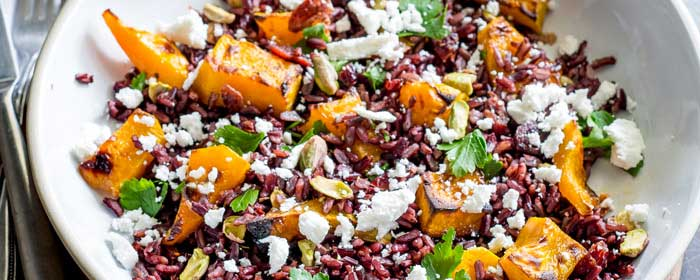 Black Rice, Goats Cheese and Maple Roasted Pumpkin Fall Salad