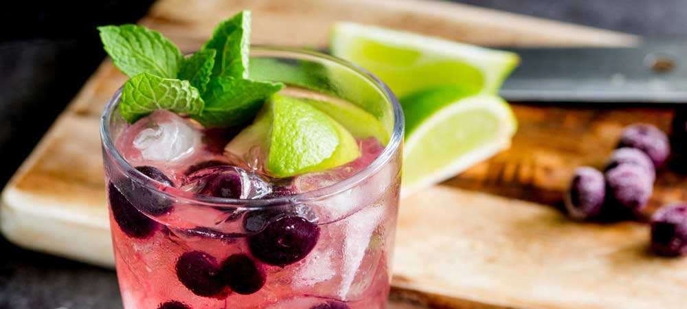 Gin and Tonic Muddled with Blueberry, Lime and Mint