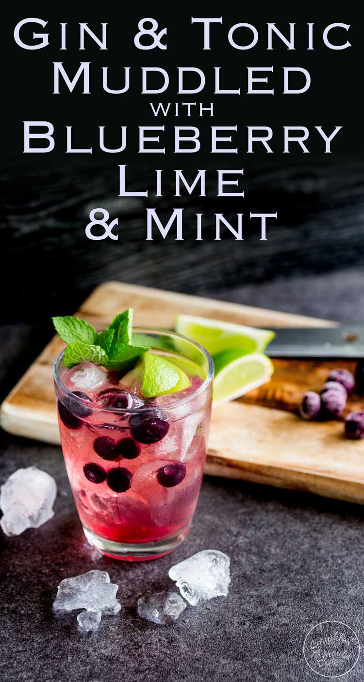 Slight sweet blueberries with tart lime and the zing of mint. This Blueberry, Lime and Mint muddled gin and tonic is the perfect balance of flavours. Recipe From Sprinkles and Sprouts | Delicious Food for Easy Entertaining