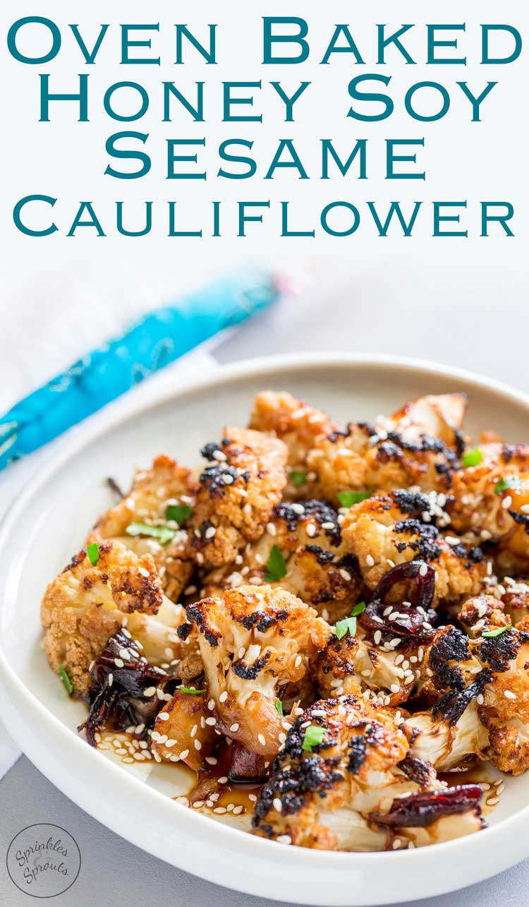 This Oven Baked Honey Soy Sesame Cauliflower is an umami rich dish, full ofsticky, sweet flavours that will delightvegetarians andmeat eaters alike. It is quick to prepare and thenhappily bakes in the oven. From Sprinkles and Sprouts. For #SundaySupper