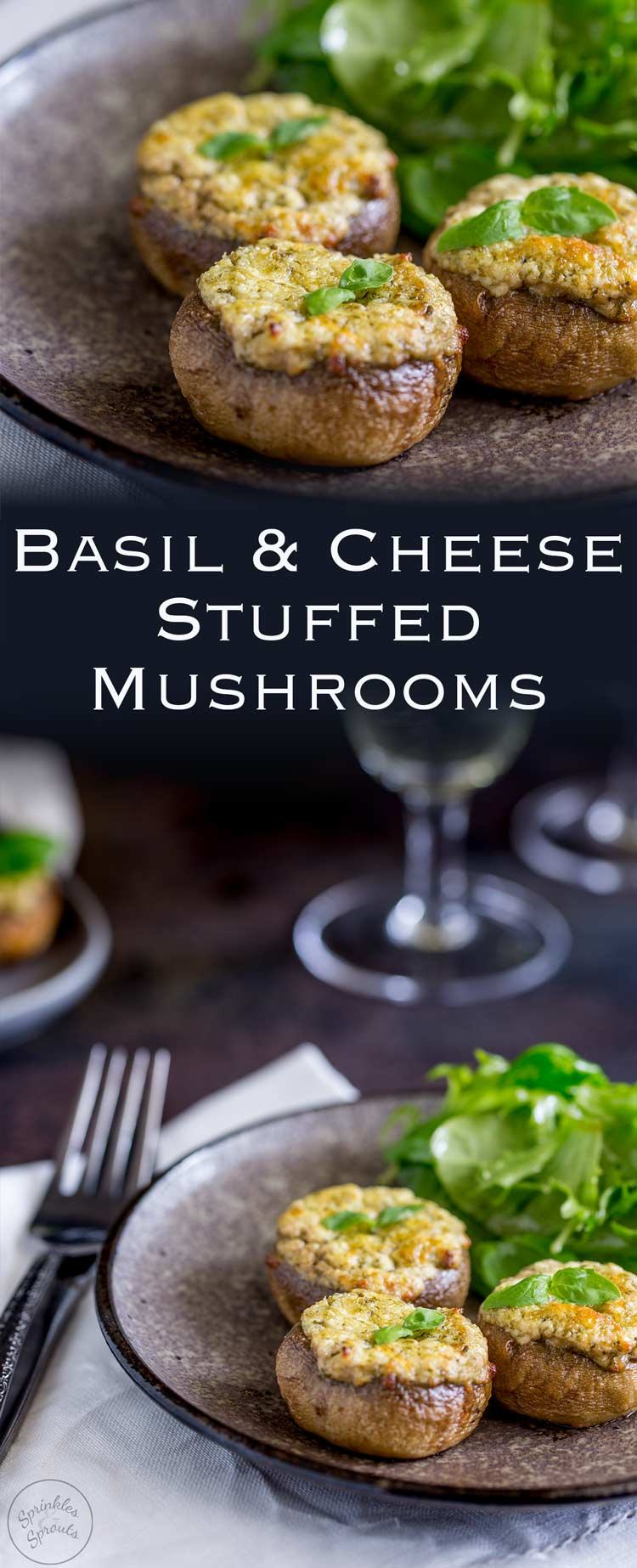 Basil and Cheese Stuffed mushrooms. Everybody loves stuffed mushrooms! And these basil and cheese stuffed mushrooms are divine. They are simple to make and make a great dinner party appetizer. Recipe from Sprinkles and Sprouts | Delicious food for easy entertaining.