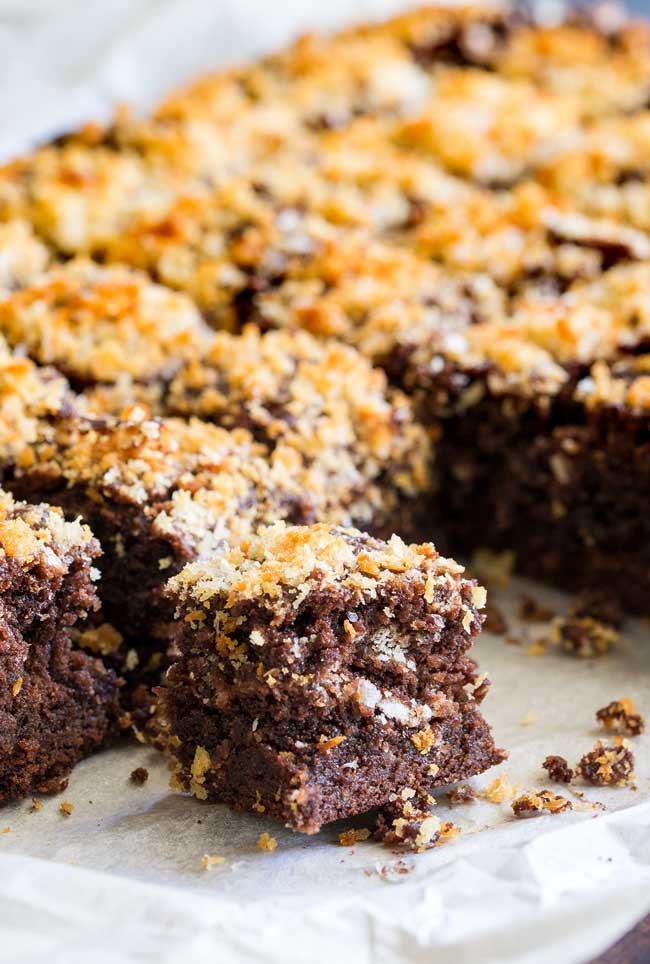 Close up on the fudgy centre of a chocolate brownie with salted panko topping.