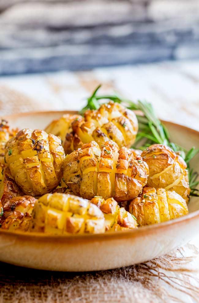 Close up on the cross cut crispy potatoes.
