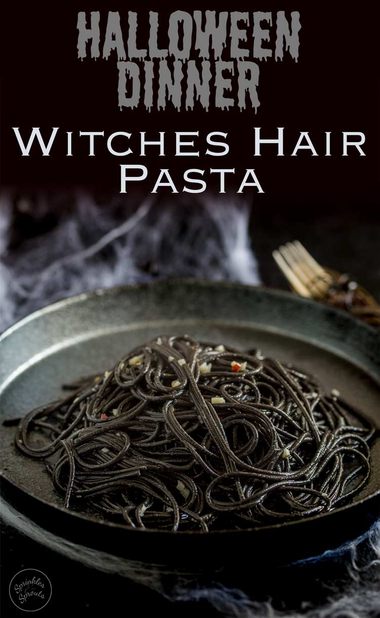 This Witches hair pasta is the perfect dinner for Halloween night. Jet black strands of squid ink pasta dressed with a garlic and chilli oil. Delicious, simple and dramatic. And there is plenty of garlic in there to keep the vampires at bay....well it is Halloween!  Recipe from Sprinkles and Sprouts | Delicious food for Easy Entertaining