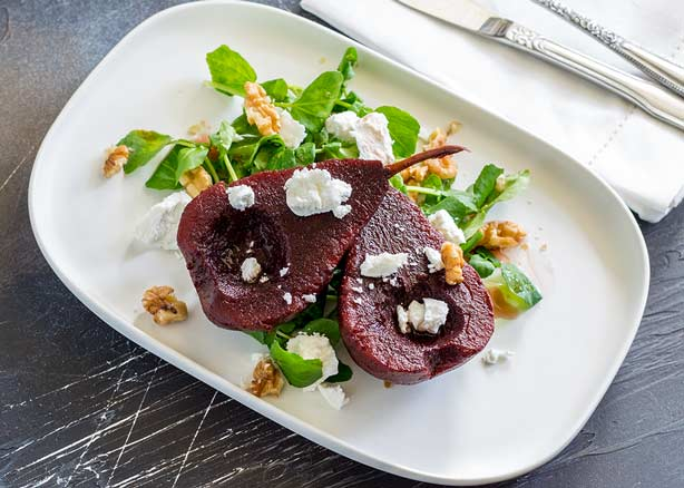 Spiced Poached Pears and Goats Cheese Salad